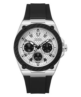 Silver Tone/Black Case Black Silicone Watch  large