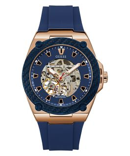 Rose Gold Tone Case Blue Genuine Leather Watch  large