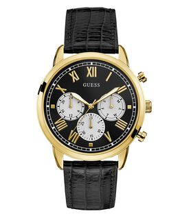 Gold Tone Case Black Genuine Leather Watch  large